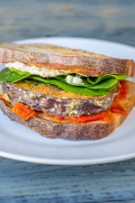 Grilled herbed eggplant sandwich, w/creamy garlic spread & spicy tomato jam