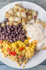 Brunch sampler: Black beans, potatoes biscuit with cashew gravy, tofu scramble